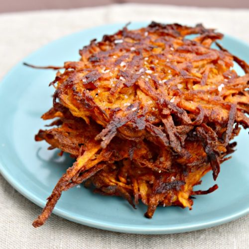Sweet Potato Latkes with Harissa Yogurt