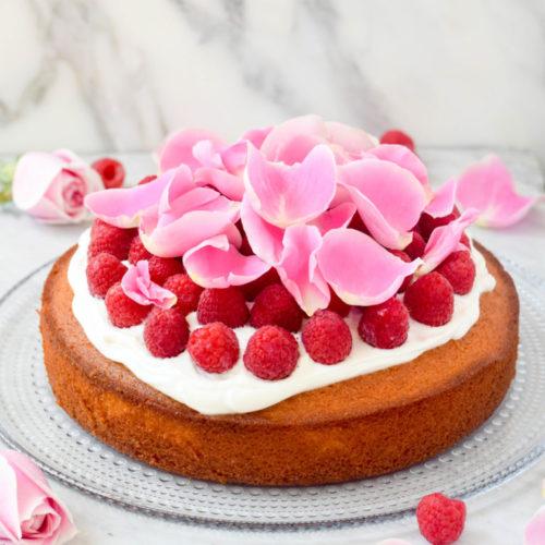 Raspberry Rose Basbousa